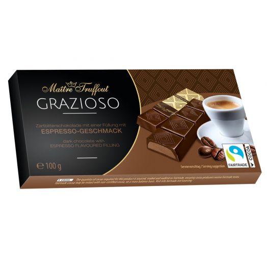 Шоколад чорний Grazioso з ароматом Еспресо 100г ТМ Maіtre Truffout