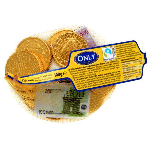 Шоколад молочний Банкноти та золоті монети 100г ТМ Only