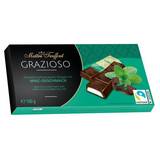 Шоколад чорний Grazioso з м'ятною начинкою 100г 8*12,5г ТМ Maіtre Truffout