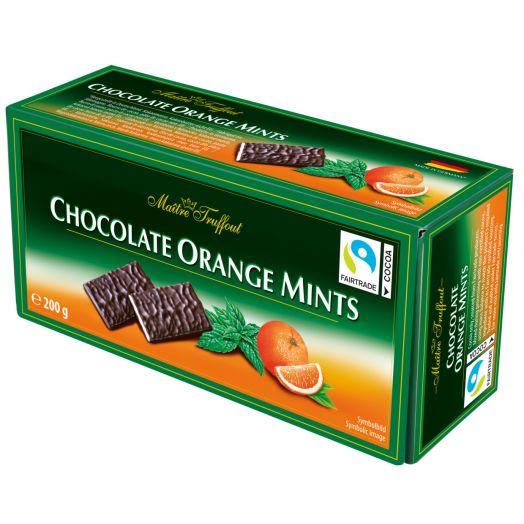 Шоколад чорний з апельсиновою та м'ятною начинкою 200г ТМ Maіtre Truffout
