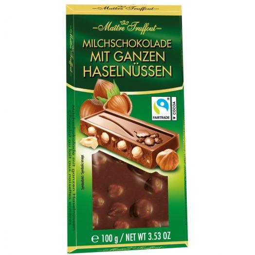 Шоколад молочний з цілим лісовим горіхом 100г ТМ Maître Truffout