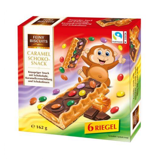 Бісквіти Caramel schoko-snack карамель, шоколад, драже 6х27г ТМ Feiny Biscuits