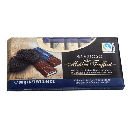 Шоколад молочний Grazioso кремом та шматочками какао-бісквіта 98г ТМ Maître Truffout