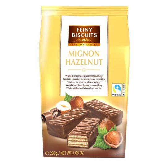 Вафлі  у шоколаді з кремом лісовий горіх 200г ТМ Feiny Biscuits